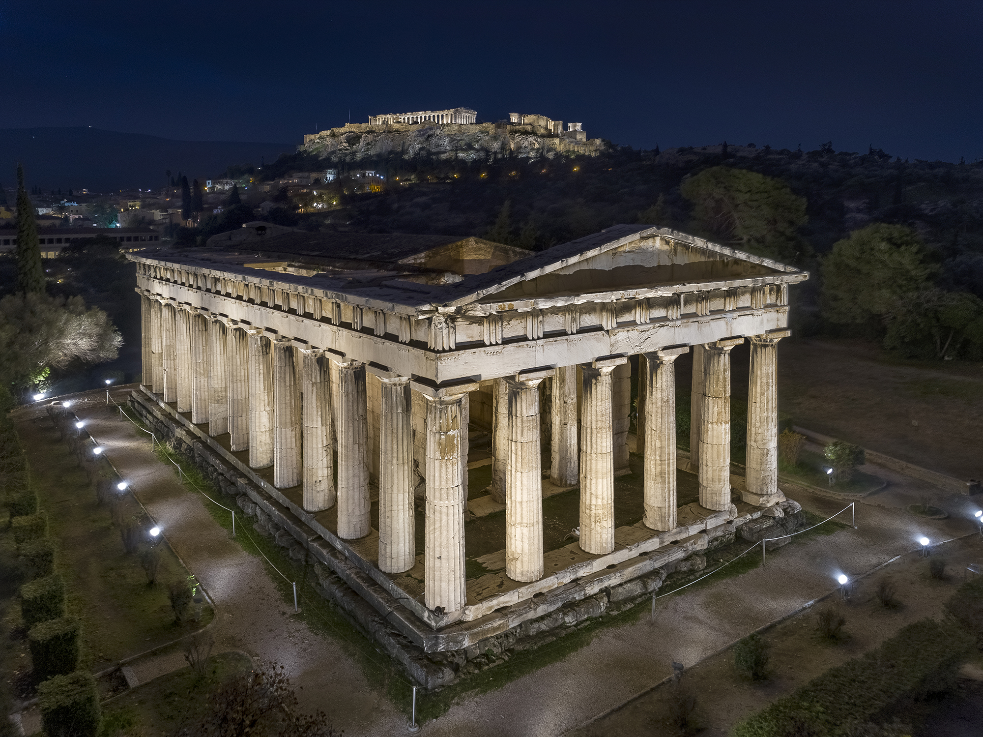 The New Lighting of the Temple of Hephaistos and the Philopappos Monument